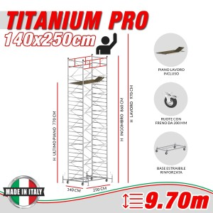 Trabattello TITANIUM PRO Altezza lavoro 9,70 metri